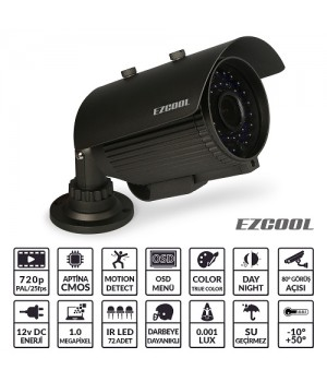 EZCOOL EZ-7210 1 MP 2,8-12MM (3MP) 72 LED AHD OSD